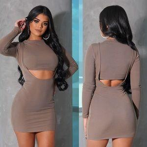 Taupe Long Sleeve Mini Dress